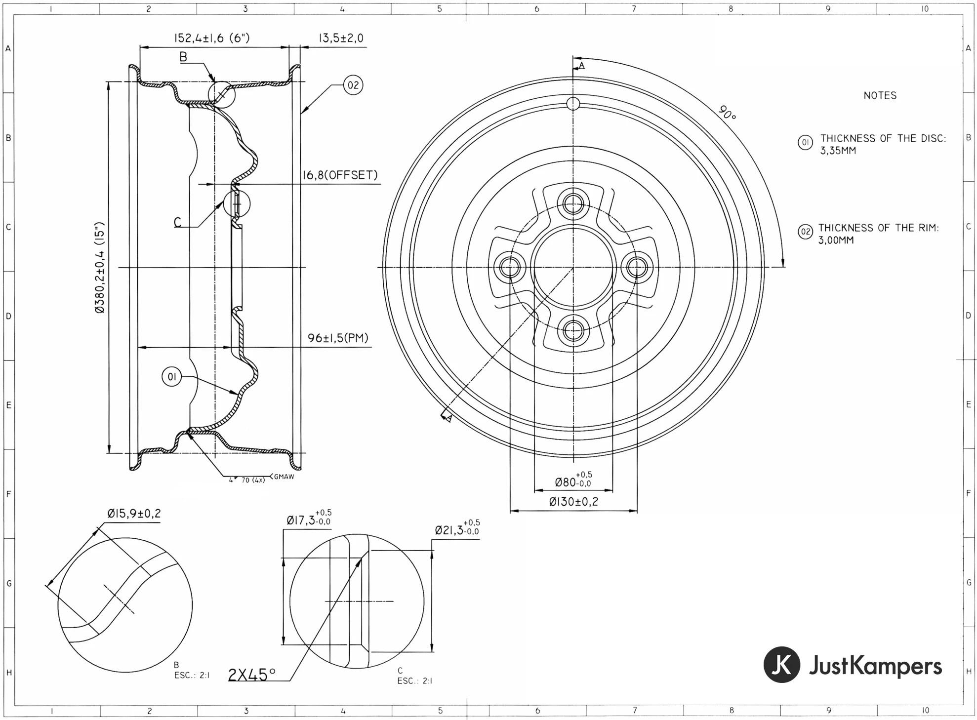 Steel Standard Style Smoothie Wheel 6j X 15 4 X 130 Pcd