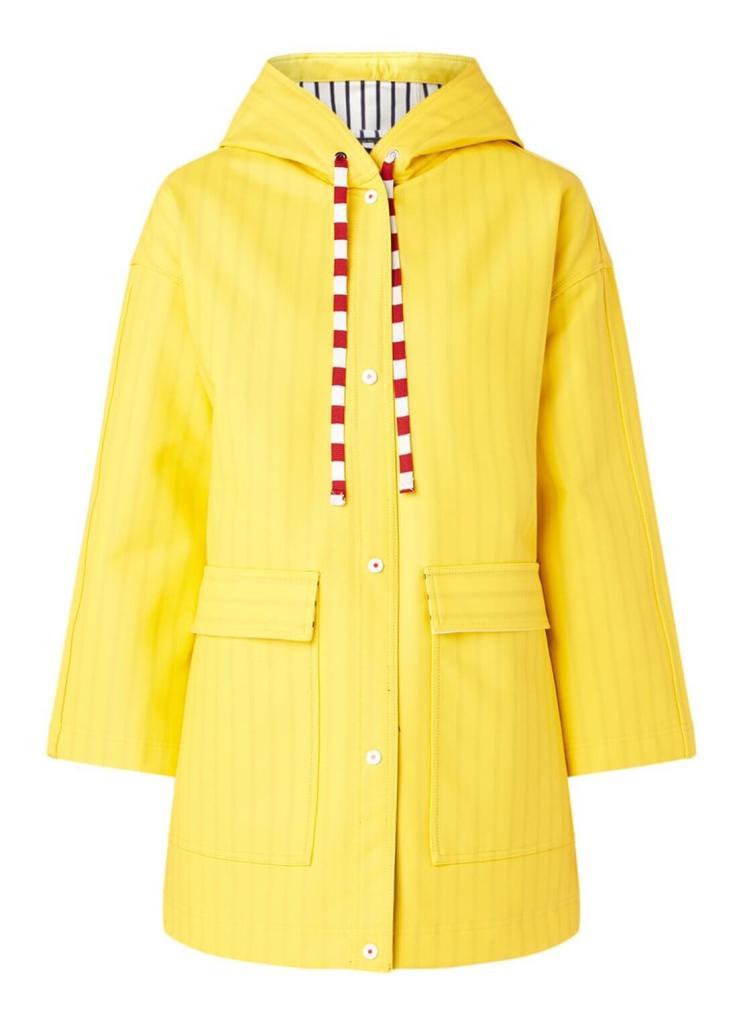 Gele regenjas met streefprint en capuchon van Benetton.