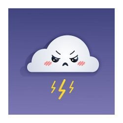 Cute cloud with lightning strikes on a bright purple background with an offended and angry expression