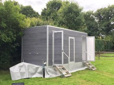 Toilet trailer at a luxury wedding