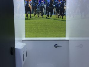 Horse Racing themed toilet trailer