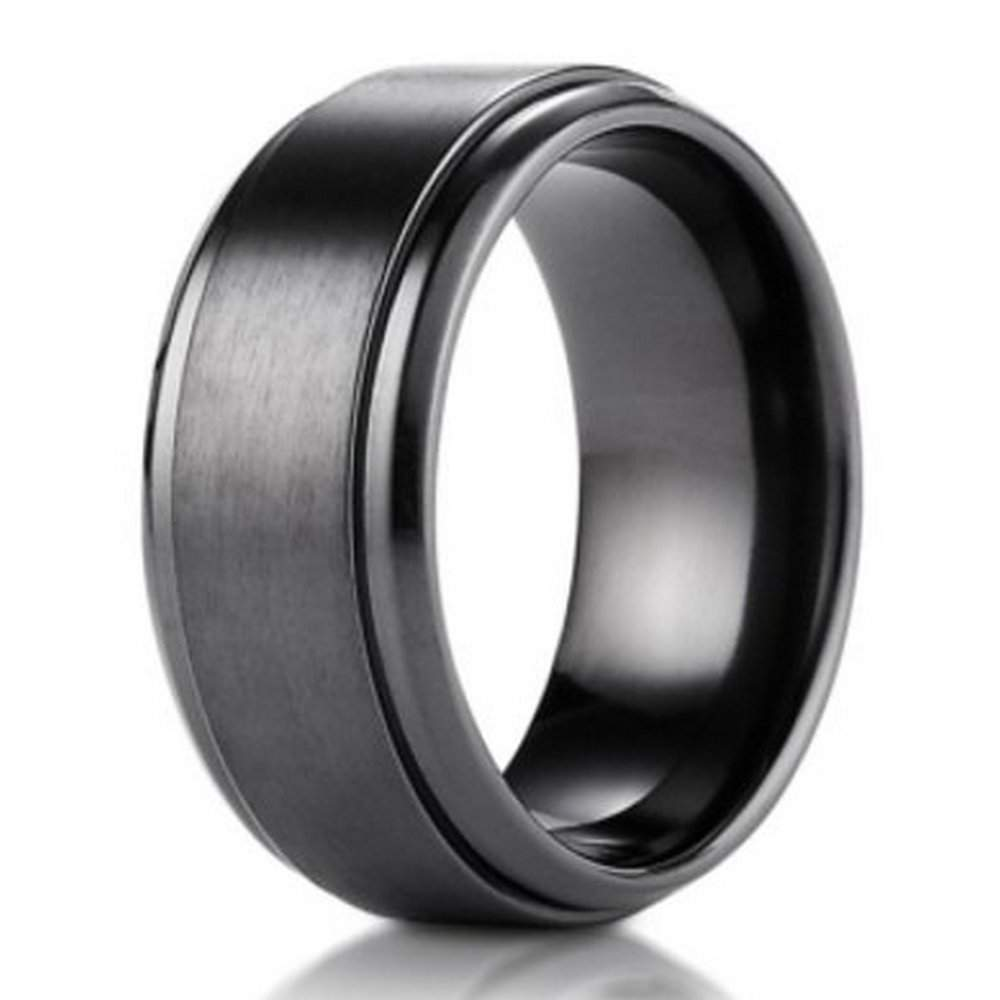 9mm Black Titanium Benchmark Mens Wedding Ring With Stair