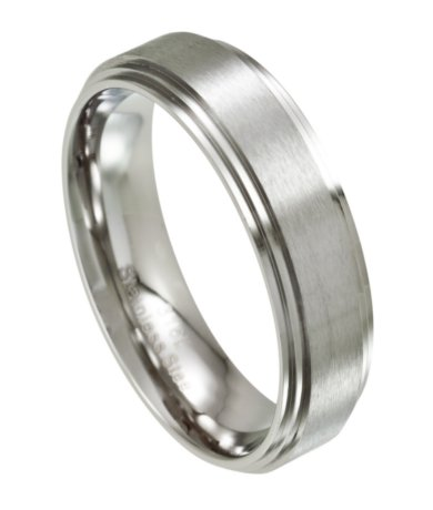 Mens Stainless Steel Wedding Ring Satin Finish 7mm Width