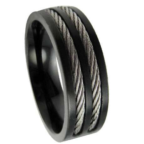 Mens Stainless Steel Black Cable Ring