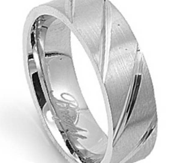 Mens Stainless Steel Wedding Band With Polished Diagonal Grooves Mm Jss