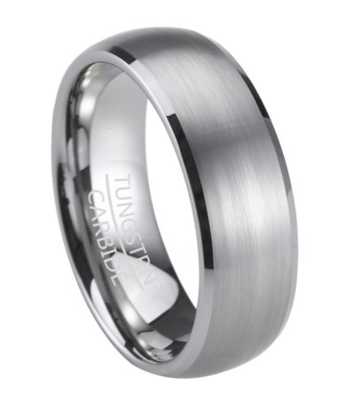Mens Wedding Band In Tungsten With Satin Finish And