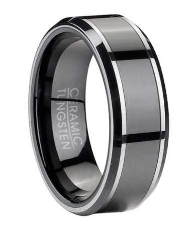 8mm Mens Tungsten Wedding Ring With Ceramic Inlay