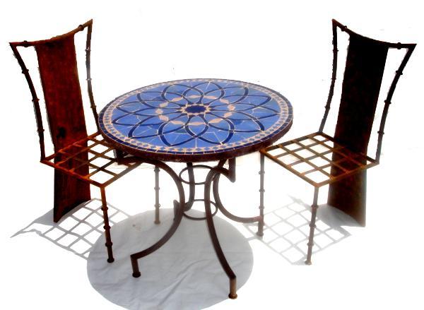 mosaic blue tile table