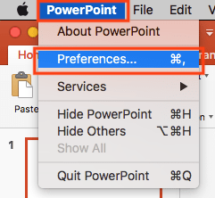 Select PowerPoint Preferences
