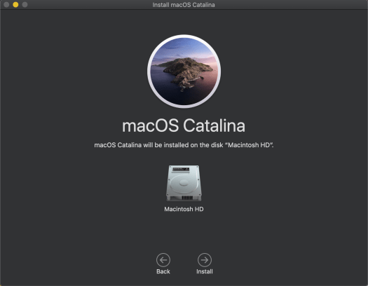 Location to install the macOS