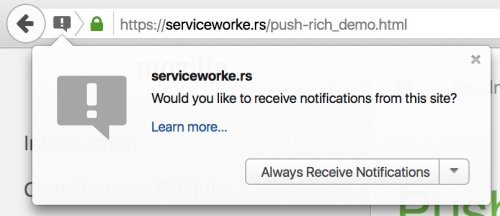 A push notification on Firefox.