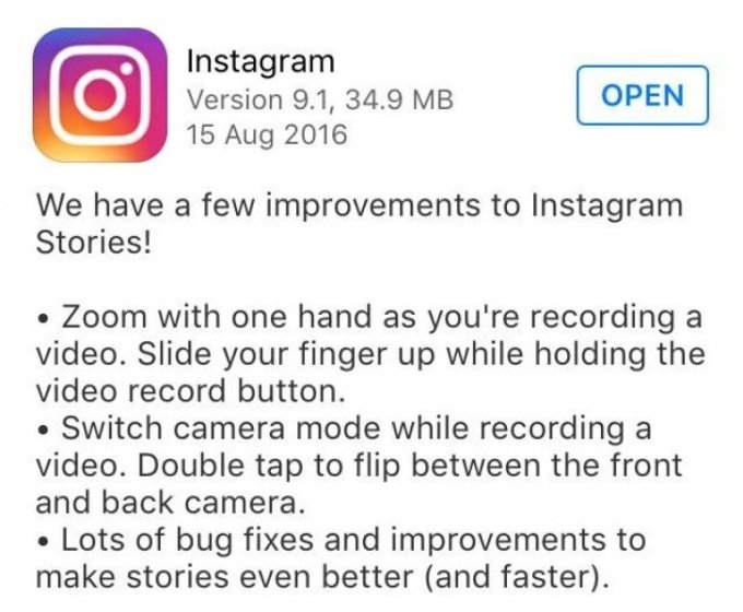 Copycat Instagram adds slide to zoom, double-tap to switch camera in video