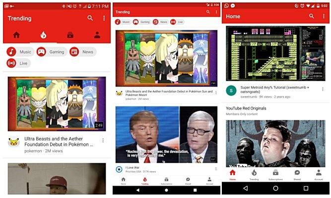 YouTube for Android enjoys a design update