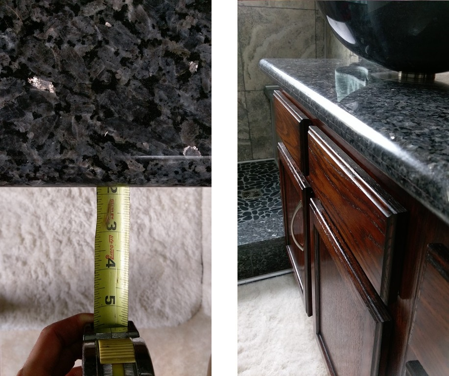 1 13/16 Inch Countertop Overhang On A Blue Pearl Granite Slab.