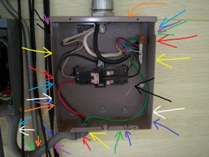 The 80 amp subpanel jumping off the 100 amp main panel. The washing machine and dryer look like an afterthought...