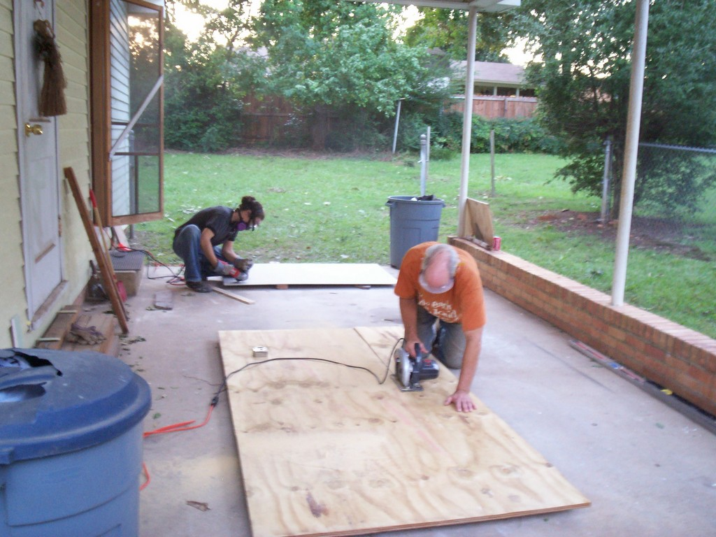 Cutting The New Plywood Subfloor Down To Size. Bathroom Subfloor Repair  Complete!