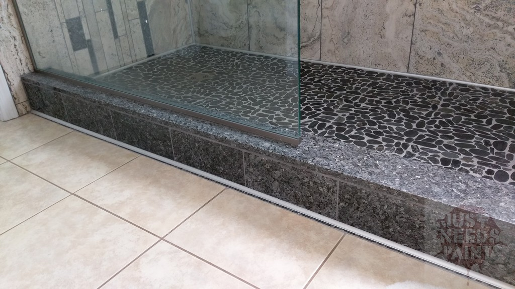 Build a granite shower curb with a prefab granite Granite a frame plans