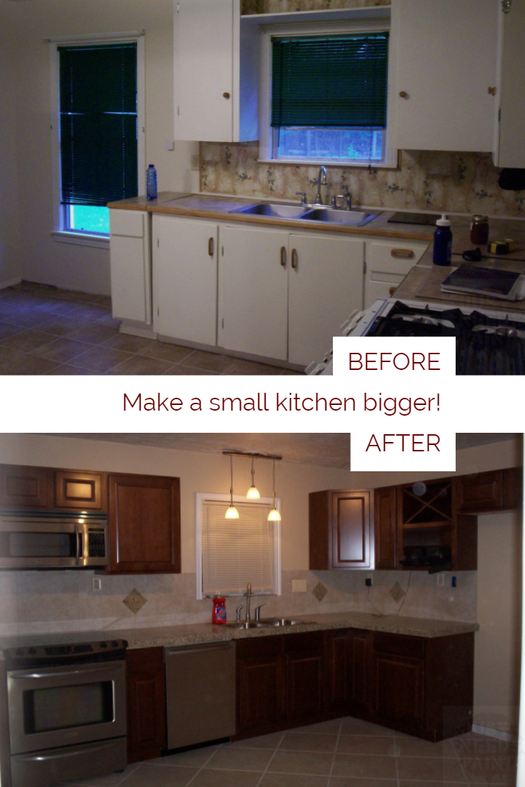before and after make a small kitchen look bigger just needs paint