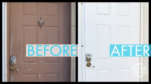 Before and after repainting a front door.
