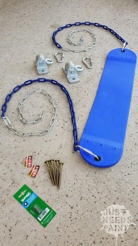 DIY porch swing set parts.