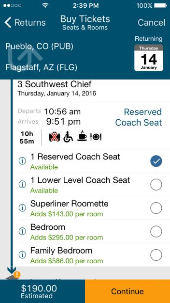 Amtrak pricing