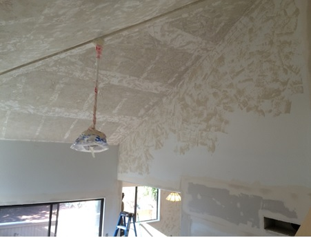 We needed scaffolding to reach the living room ceiling