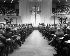 A view of the platform from the floor of the 1968 uniting conference in Dallas, where a merger of the Methodist Church and Evangelical United Brethren Church resulted in The United Methodist Church.1968 file photo courtesy of the United Methodist Commission on Archives and History
