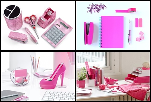 bedazzled pink office supplies-tile