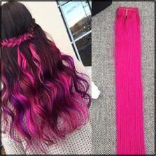hot pink hair extension clip ins