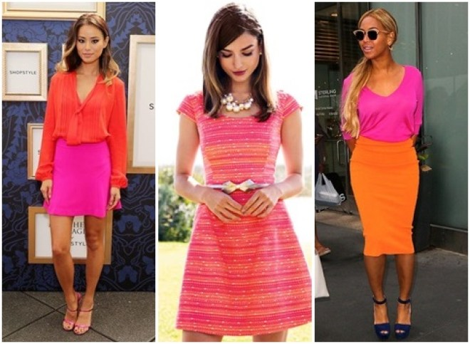 pink and orange outfits