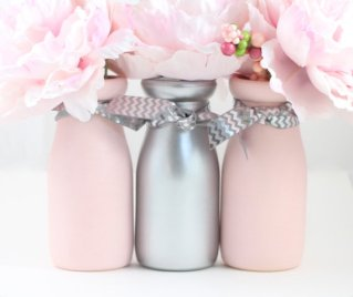 pink and silver vases
