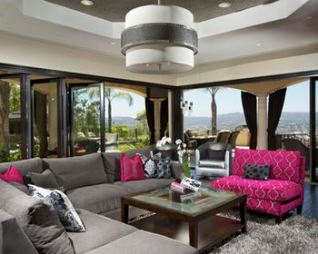 pink and gray family room