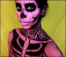 pink skeleton makeup