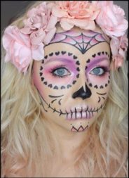 pink halloween makeup sugar skull