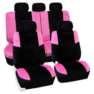 Pink Lush Velour Seat Cover Full Set