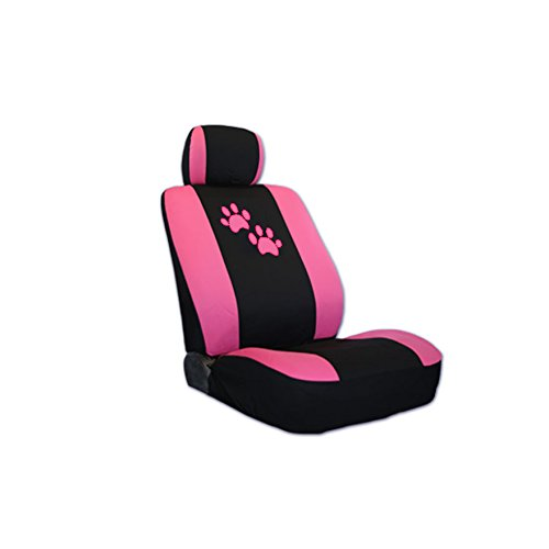 Pink Paws Front Rear Car Seat Covers Floor Mats