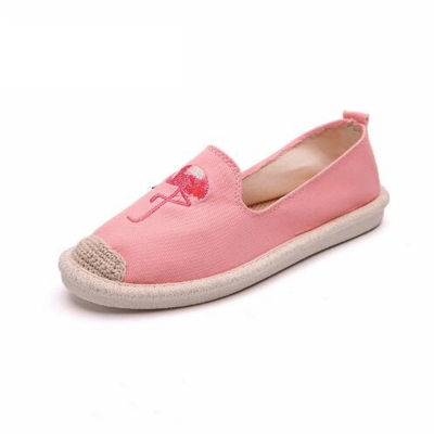Women's Pink Flamingo Embroidered Casual Shoes
