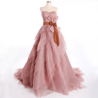 Romantic Blush Pink Tiered Organza Evening Gown