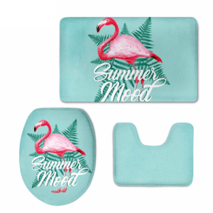 Flamingo Pattern 3 Pieces/ Bathroom Rug Set