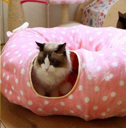 Pink Pet Cat Bed House Play Tunnel