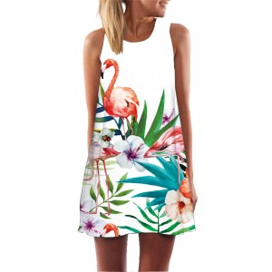 Women's Pink Flamingo Tropical Summer Dress