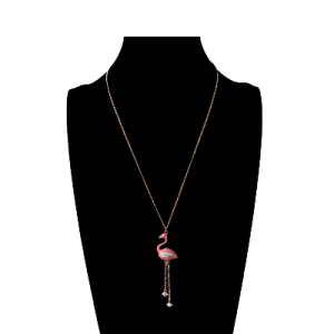 Trendy Pink Flamingo Enamel Pendant Necklace