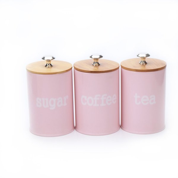 3-Piece Pink Metal Food Storage Tin Canister