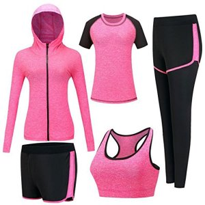 Women's Pink 5pcs Fitness Yoga Athletic Wear