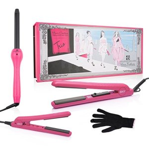 Pink Hair Straightening Curling Combo Set