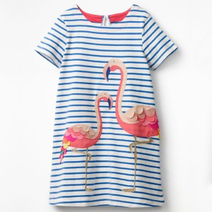 Girls Embroidered Flamingo Design Summer Dress