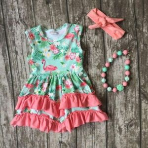 Girl's Flamingo Print Sleeveless Floral Dress