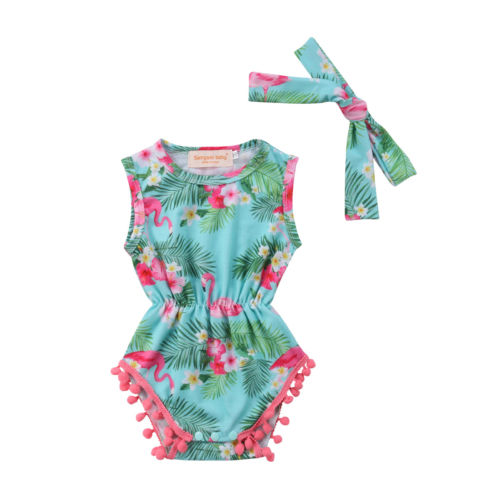 9b1124d3b Girls Pink Flamingo Print Summer Romper - Just Pink About It