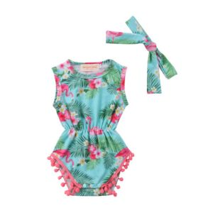 Girls Pink Flamingo Print Summer Romper