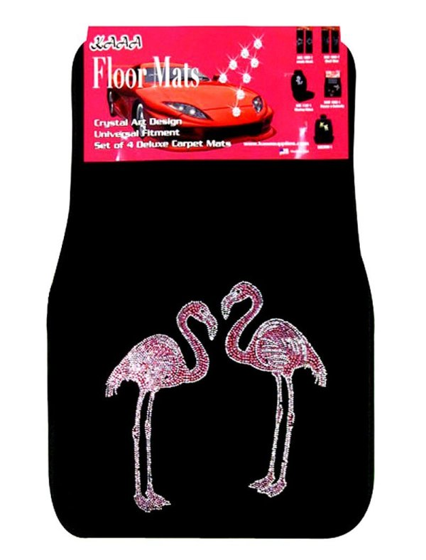 4-Piece Flamingo Rhinestone Carpet Car Floor Mats